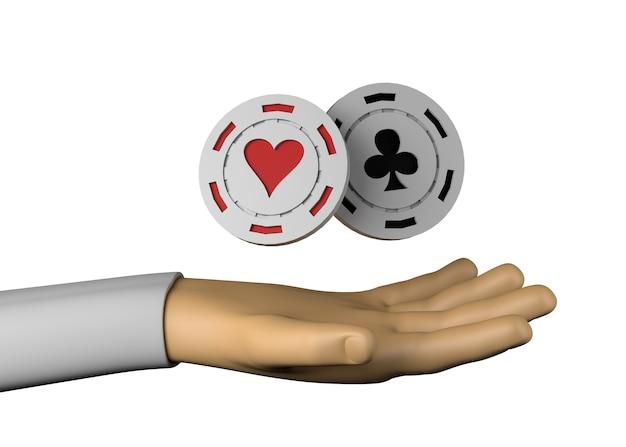 Hand met casinofiches. harten en clubs. gokken. 3d illustratie. Premium Foto