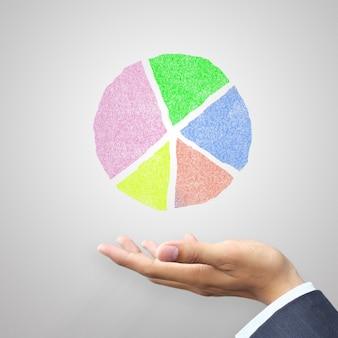 Hand met cirkel grafiek