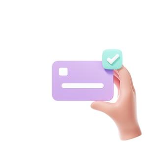 Hand met creditcard voor online betaling