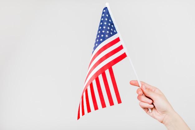 Hand met de vlag van de vs