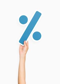 Hand met divisie symbool