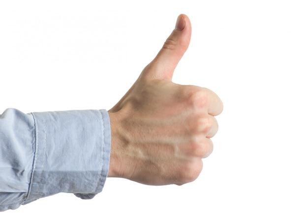 Hand met duim omhoog teken