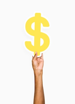 Hand met een dollarteken