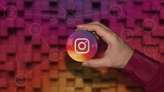 Hand met een instagram-logo