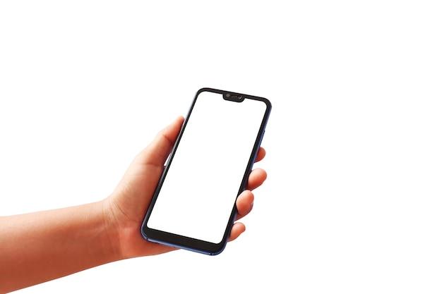 Hand met een smartphone met een wit scherm op een witte achtergrond