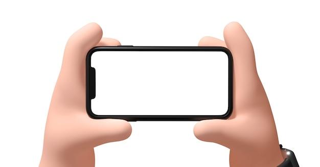 Hand met een smartphone op een witte achtergrond 3d illustratie zakenman houdt een telefoon in zijn hand