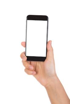 Hand met een zwarte mobiele