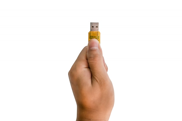 Hand met flash drive