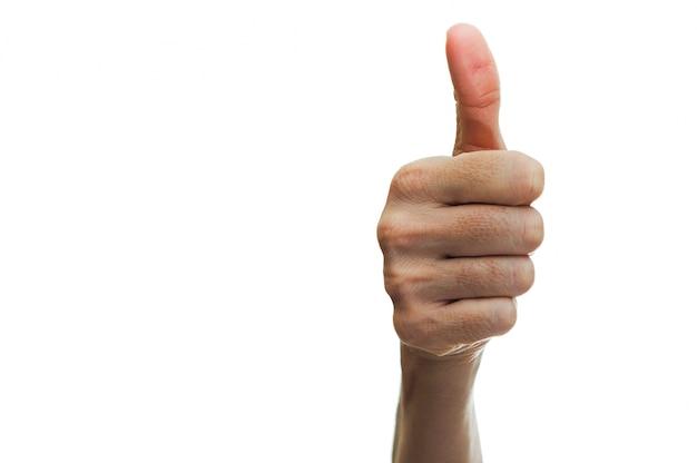 Hand met gebaar van succes