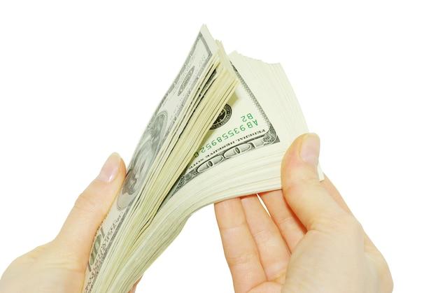 Hand met geïsoleerd geld