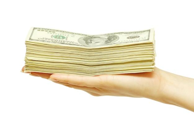 Hand met geld geïsoleerd op witte achtergrond