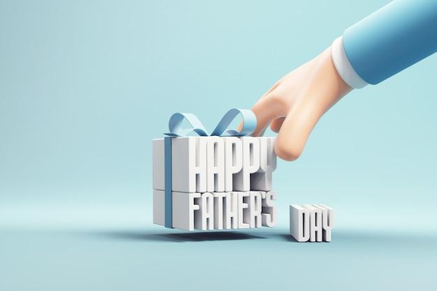 Hand met gelukkige vaders dag in geschenkdoos op blauwe achtergrond
