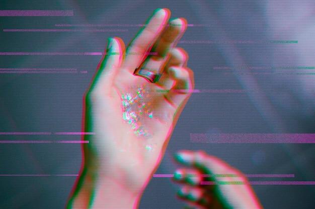 Hand met glitch-overlay in 3d-toon