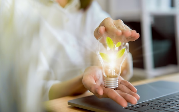 Hand met gloeilamp met energiebesparing innovatie en creativiteit zijn sleutels tot succes.