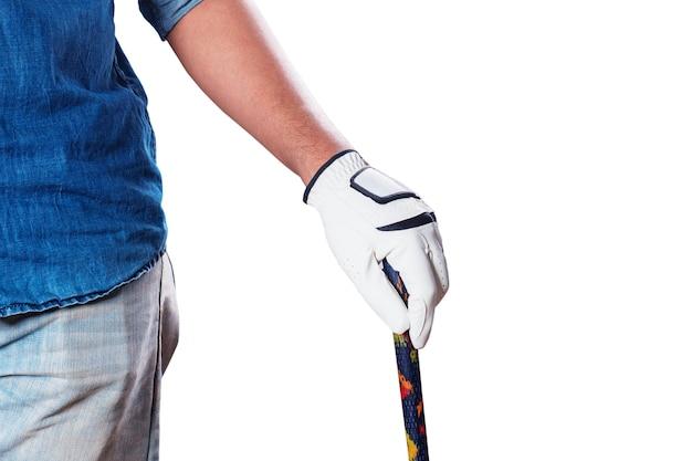 Hand met golf op witte achtergrond.