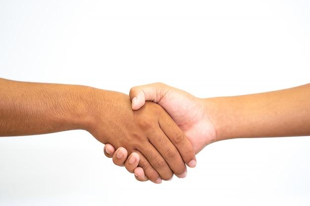 Hand met hand of hand schudden