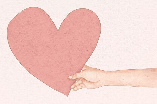 Hand met hart voor valentijnsdag hand getrokken illustratie