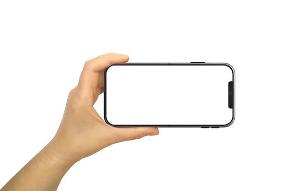 Hand met horizontale mobiele telefoon met leeg en wit scherm