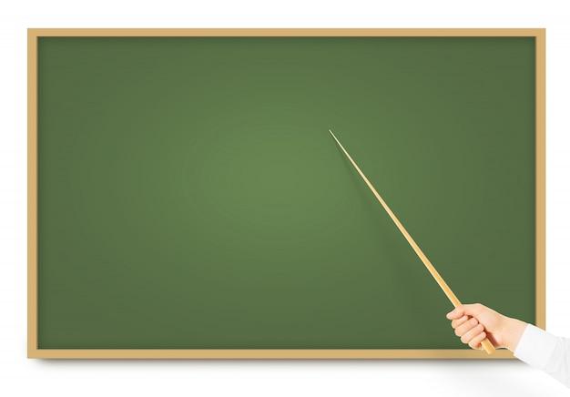 Hand met houten aanwijzer in de buurt van blackboard
