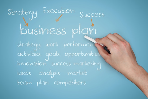 Hand met krijt te leggen business plan