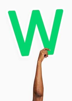 Hand met letter w-teken