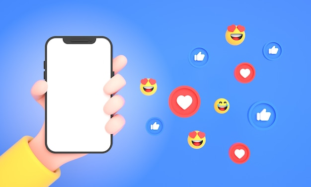 Hand met mobiele telefoon met social media iconen likes en emoji's voor telefoon mockup