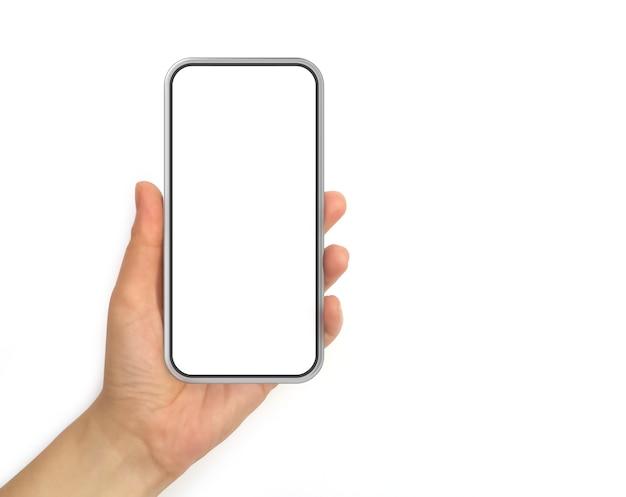 Hand met mobiele telefoon met wit scherm