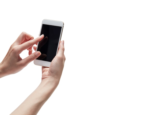 Hand met mobiele telefoon