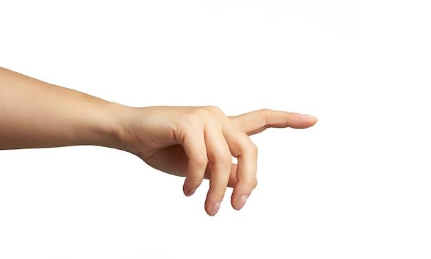 Hand met opgeheven wijsvinger op wit wordt geïsoleerd