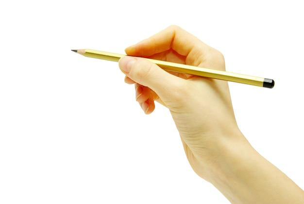 Hand met potlood op wit wordt geïsoleerd dat
