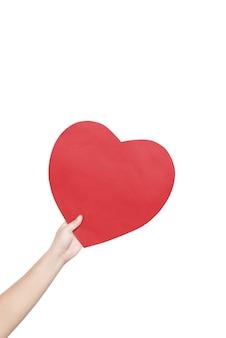 Hand met rode harten geïsoleerd op witte achtergrond
