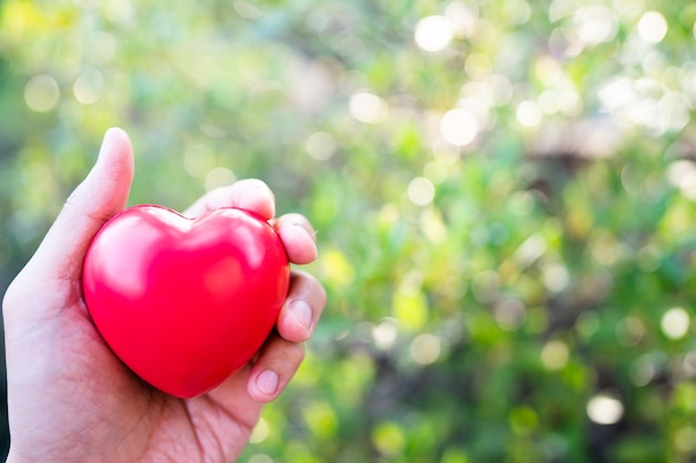 Hand met rood hart