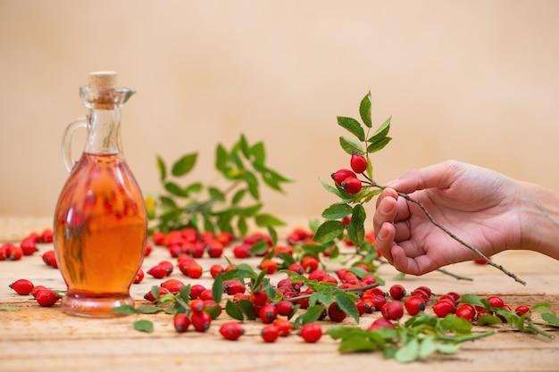 Hand met rozenbotteltakje met rode bessen en kolf vol olie