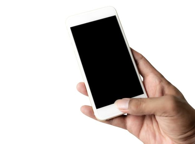 Hand met slimme telefoon zwart scherm geïsoleerd op witte achtergrond