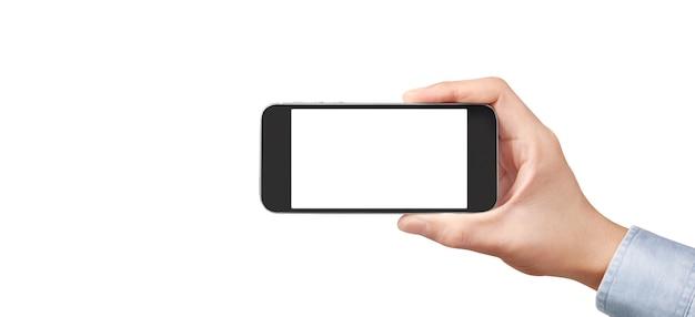 Hand met smartphoneapparaat en scherm aan te raken