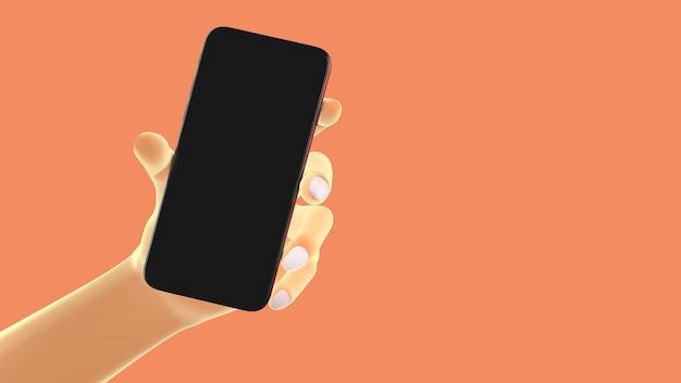 Hand met telefoon, geïsoleerd op de achtergrond. 3d-afbeelding. mockup concept set van sociale media, app, berichten en opmerkingen.