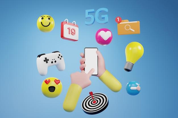 Hand met telefoon met pictogrammen, social media concept, media marketing. 3d illustratie