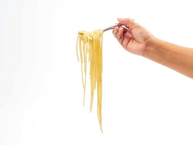 Hand met vork handvat roll spaghetti lijn