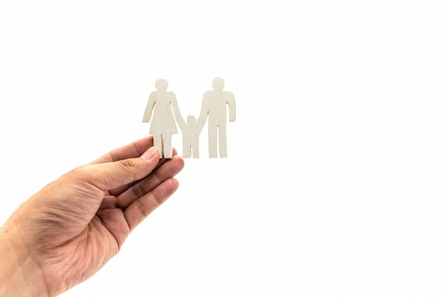 Hand met witte familie pictogram