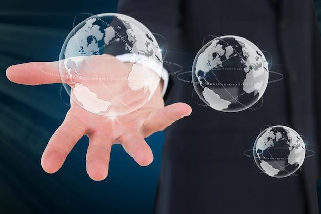 Hand met zeepbellen