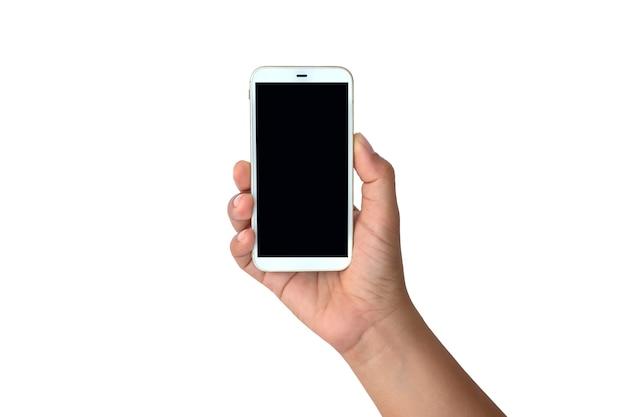 Hand met zwarte scherm mobiele telefoon geïsoleerd op een witte achtergrond