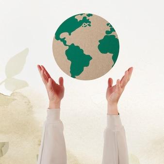 Hand presenteren aarde duurzame omgeving remix