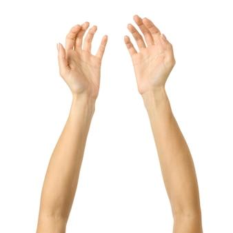 Hand reiken. vrouw hand gebaren geïsoleerd op wit