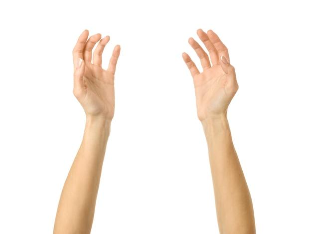 Hand reiken. vrouw hand met franse manicure gebaren geïsoleerd op een witte muur. onderdeel van series