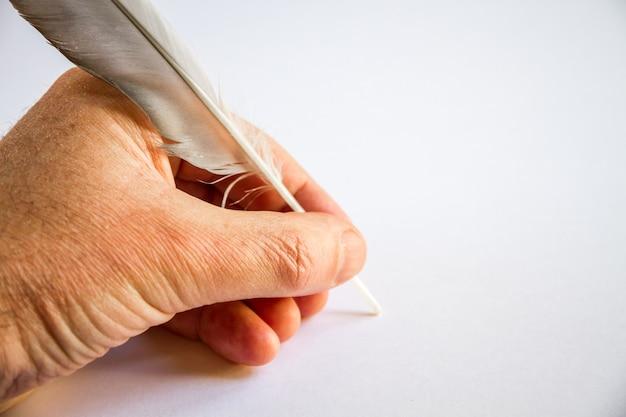 Hand schrijven met een vogelveer geïsoleerd op een witte achtergrond