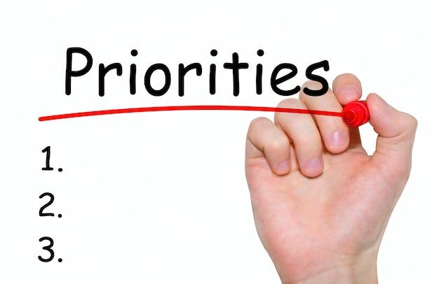 Hand schrijven prioriteiten met rode marker op transparante wandbord.