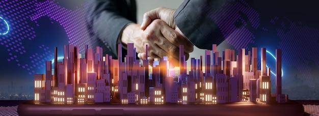 Hand schudden over smart city en verbindingstechnologie concept. 3d-rendering