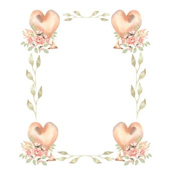 Hand tekenen geïsoleerde boho aquarel bloemenkransen illustratie met bladeren, pioen bloemen, pijl, veren, takken, harten, bloem. boheemse krans in vintage stijl.