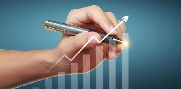 Hand tekenen grafiek, grafiek voorraad groei