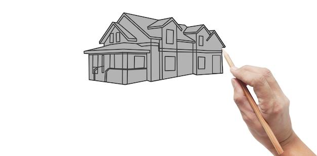 Hand tekenen huis concept van droomhuis tekenen door ontwerper